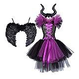 SADWF Disfraz de Malefica Niñas Reina Malvada Bruja Maleficent Costume Tutu Vestido con Diadema de Cuernos Alas de Angel Halloween Fancy Dress Cosplay Fiesta Carnaval Disfraces 0-12 años