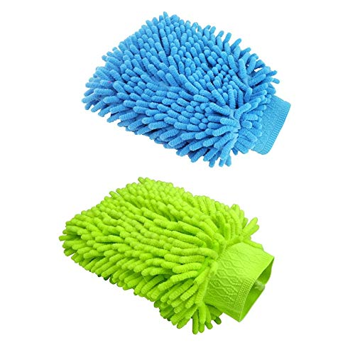N\A 2Pcs Car wash Mitt Microfiber Wash Gloves Car Cleaning Microfiber Mitt Cleaning Microfibre Cloths for Car Cleaning & Household Cleaning