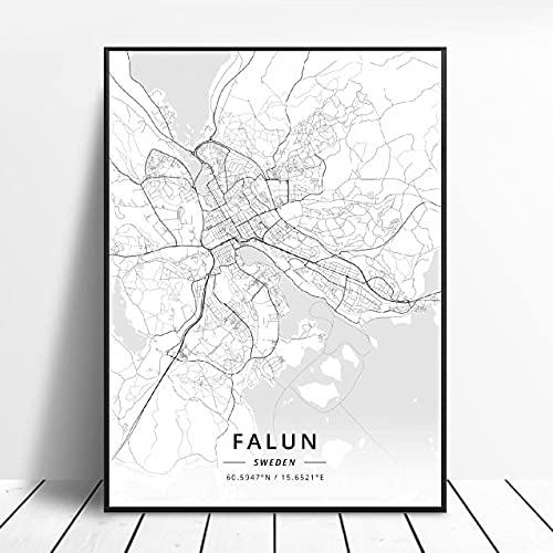 Falun Varberg Skovde Uddevalla Norrkoping Boras Sweden Canvas Art Map Poster ?ZW-483? Ingen ram poster 40x60cm