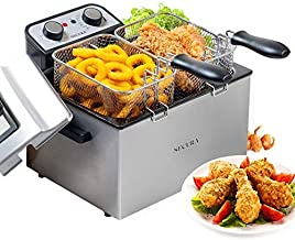Secura Electric Deep Fryer 1800W Large Stainless Steel with with Triple Basket and Timer MSAF40DH, 4.0L/4.2Qt, Professional Grade (Renewed)