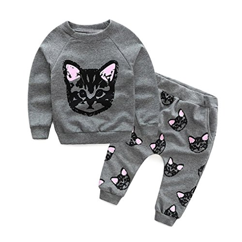 OVERDOSE Kinder Baby Mädchen Jungen Kleidung Set Langarm Katzen Drucken Trainingsanzug Bluse Pullover Tops + Pants Outfits Set(3T,A-Grau)