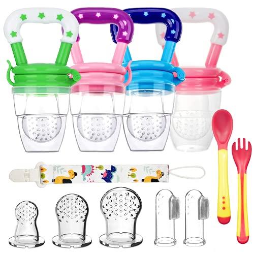 4pcs Chupetes Frutas Bebe Sin BPA Alimentador Antiahogo de Fruta para Bebés + 3 Tetinas de Silicona en 3 Tamaños + 2 Cepillos de Dedo para Bebés