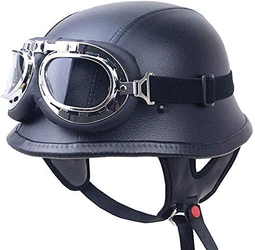CDPC Casco de motocicleta retro con gafas vintage para hombres y mujeres, scooter 3/4 transpirable, cálido y cómodo, forro de cuatro estaciones adulto medio casco aprobado por DOT/ECE