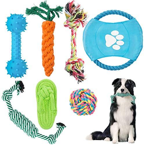 ZWOOS Welpenspielzeug, 7-teiliges Set,Welpen Zahnen Spielzeug Hund Seil Kauspielzeug für kleine Und Mittlere Hunde Hundespielzeug
