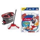 Vileda Easy Wring & Clean Turbo - Juego de fregona, color negro y rojo + Vileda TURBO 2in1 - Recambio Microfibras y Poliamida