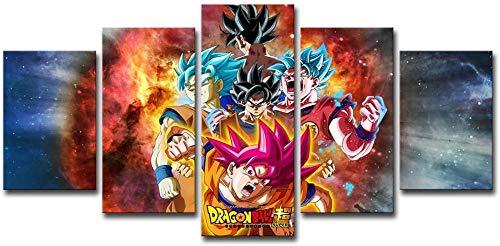 Hnyyj Dragon Ball Z y Super Saiyan Pinturas de Carteles Cool Goku Anime Impresiones de Lienzo Decoración Arte de la Pared 5 Piezas Imágenes de Dibujos Animados para la decoración de la Sala de Estar