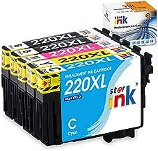 Starink Remanufactured Ink Cartridge Replacement for Epson 220 220XL T220XL T220 XL Work with WF-2760 WF-2750 WF-2630 WF-2650 WF-2660 XP-320 XP-420 XP-424 Printer, 5-Pack