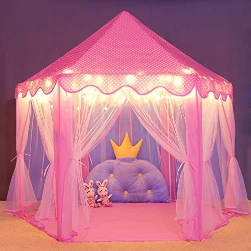 キッズテント Wilwolfer プリンセス城型 子供用テント キッズプレイハウス プリンセステント キラキラLEDスターライト付き 誕生日・クリスマスプレゼント・おままごと・おもちゃ--ピンク
