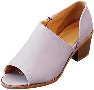 Women Vintage Casual Peep Toe Shoes Solid Zipper Block Heel Ankle-Wrap Sandals (Color : Purple, Size : 2.5 UK)