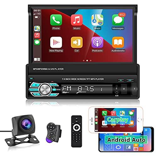 Hodozzy Autoradio 1 Din Carplay Android Auto USB 7' TouchScreen Autoradio Bluetooth Stereo Lettore MP5 Supporto USB, TF, Radio FM, Aux-in, SWC, Android/iOS Mirror Link + Telecamera Posteriore