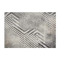 YONGLIA 幾何学的な居間のカーペット、寝室の居間の白黒140×200CMのために適した柔らかい接触大きい居間のカーペット