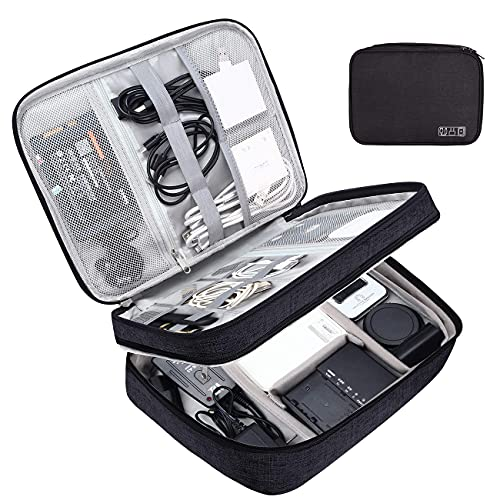 【Fyrongyi】 Electronic Organizer, Accessories Organizer Travel Double Layer Electronics Bag Large for 10.5 inch iPad Pro, Adapter, Cables (Black)