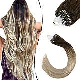 Ugeat 18Pouces Micro Link Loops Cheveux Naturel Fusion Extension Meches Pose a Froid Brun Fonce a Blond Cendre et Blond Moyen 50G/50S