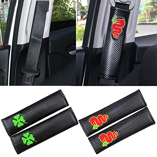 QIEP 2 Stück/Set Kohlefaser-Sicherheitsgurt-Abdeckpolster für alfa Romeo 159 147 156 Giulietta 147 159 mito