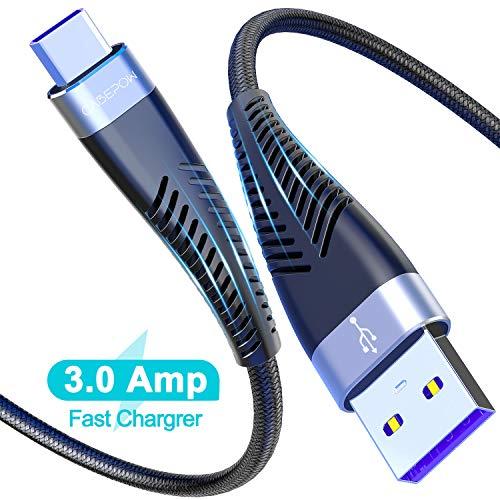 Cabepow Lang USB C Kabel 6ft, 2Pack 2M Type C Ladekabel, Nylon Geflochten 3A Schnelles Aufladen/Synchronisation USB C auf A Kabel für Samsung S10 S9 S8 Plus Note10 9 8 LG G5 G6 HTC, Huawei,Google