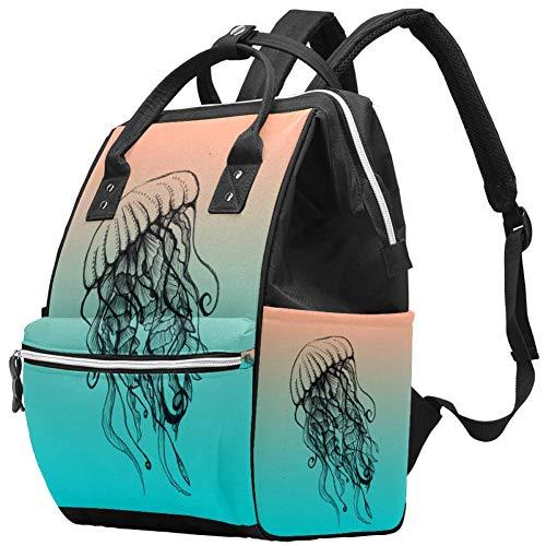 Beach hek tekenen luier tassen mama rugzak grote capaciteit luierzak verpleegkundige reizen tas voor babyverzorging 10.6x7.8x14in Color09