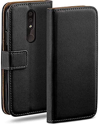 moex Klapphülle für Nokia 4.2 Hülle klappbar, Handyhülle mit Kartenfach, 360 Grad Schutzhülle zum klappen, Flip Hülle Book Cover, Vegan Leder Handytasche, Schwarz