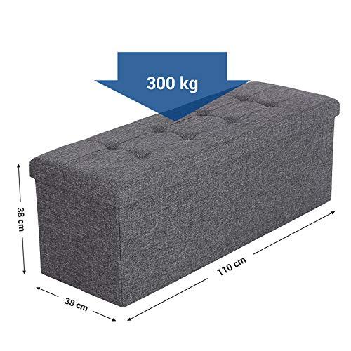 Songmics Stizbank Truhen Hocker 3-Sitzer mit Stauraum belastbar bis 300 kg leinen dunkelgrau 110 x 38 x 38 cm LSF77K - 6