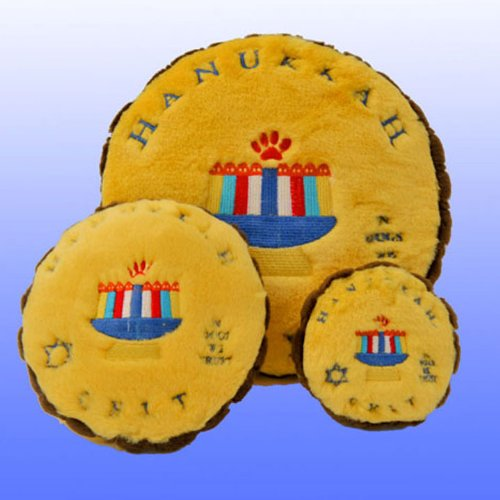 Plush Medium Sized Hanukkah Gelt Coin Chewish Squeak Treat Animal Pet Toy