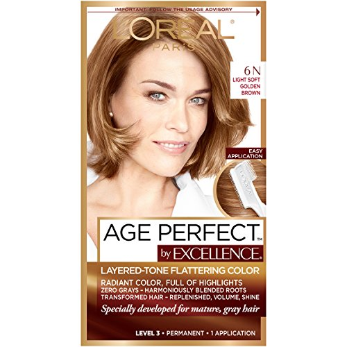 L'Oreal Paris ExcellenceAge Perfect Layered Tone Flattering Color, 6N Light Soft Golden Brown (Packaging May Vary)