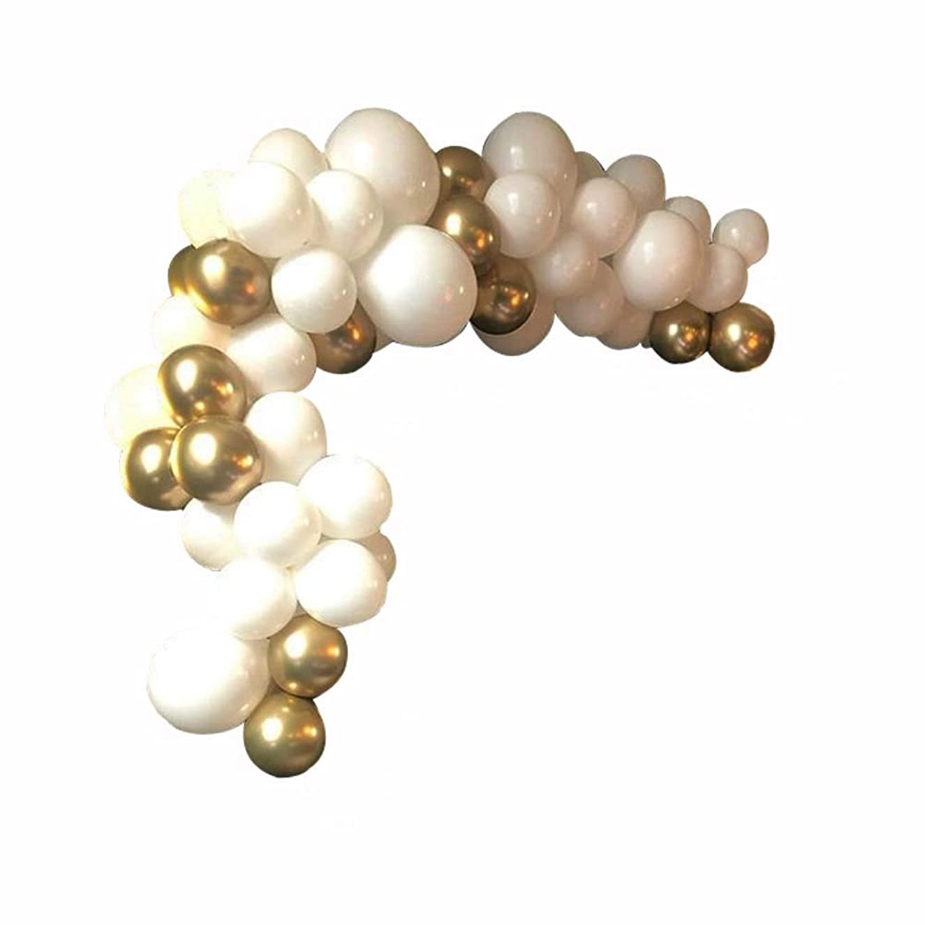 52 Packs DIY Balloons Garland Arch Kit with White and Gold Chrome Shiny Metallic Latex Balloons- Perferct for Graduation Birthday Decorations,Bridal Baby Shower Engagement Wedding Par