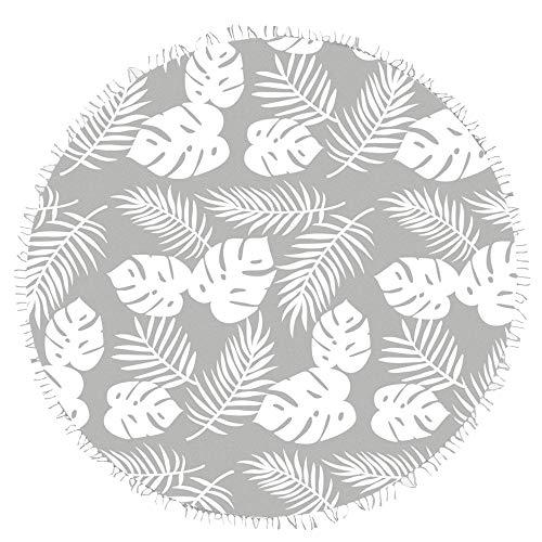 JO & JUDY Strandtuch - Rundes, dekoratives Badetuch mit tropischem Motiv - Maße 180 x 180 cm, Grau/Weiß