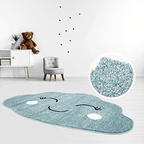MyShop24 Kinderteppich Teppich Flachflor 100x150cm Pastell Blau Fröhliche Wolke Wolkenform für das Kinderzimmer Oeko-Tex Standard 100