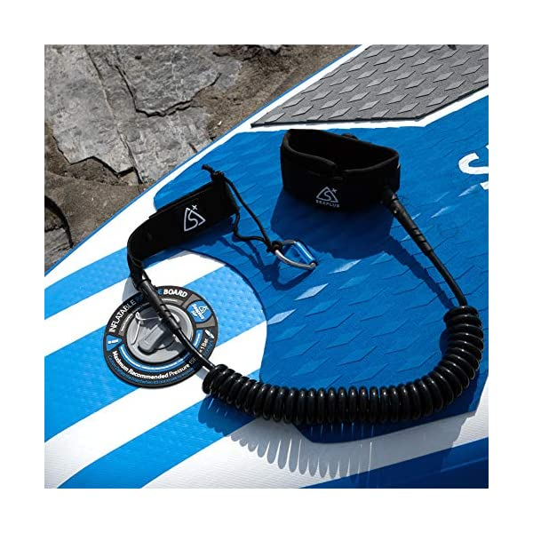SEAPLUS Premium Surf SUP Leash, Coiled Stand Up Paddle Board Leashes, 9 Feet Surfboard Leg Rope with Quick Release Ankle…