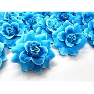 (24) Silk Blue Diamond Roses Flower Head – 1.75″ – Artificial Flowers Heads Fabric Floral Supplies Wholesale Lot for Wedding Flowers Accessories Make Bridal Hair Clips Headbands Dress