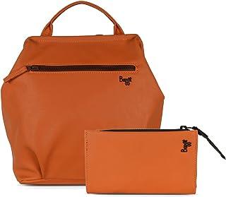 Baggit Faux Leather Women's Orange Cb Tabloid Handbag with Wallet