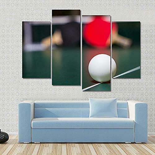 4 Panel Ephany Art White Table Tennis ball Sport Paintings Modern Giclee Stretched And Framed Artwork Oil Pictures Photo Prints On Canvas