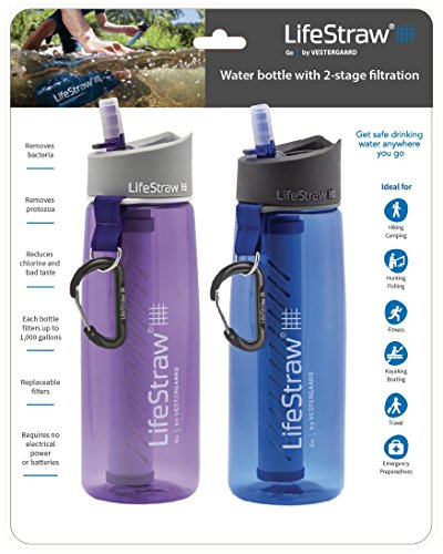 LifeStraw Go Water Filter Bottles with 2-Stage Integrated Filter Straw for Hiking, Backpacking, and Travel, 2-Pack, Blue + Purple