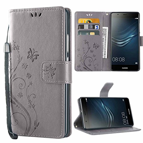 iDoer Huawei P9 Hülle, Solide Butterfly PU Ledercase Tasche Hülle Schutzhülle Flip Hülle Magnetverschluss Handyhülle im Wallet Bookstyle Standfunktion für Huawei P9 - Grau