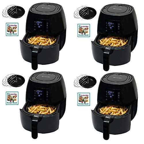 Avalon Bay Air Fryer Digital Display Stainless Steel Healthy Appliance (4 Pack)