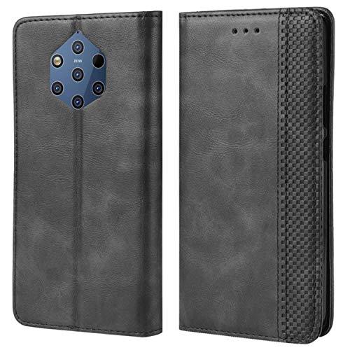 HualuBro Handyhülle für Nokia 9 PureView Hülle, Retro Leder Brieftasche Tasche Schutzhülle Handytasche LederHülle Flip Hülle Cover für Nokia 9 PureView - Schwarz