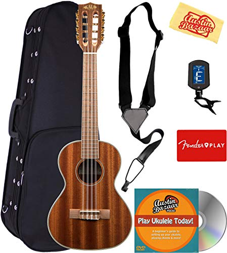 Kala KA-8 Mahogany 8-String Tenor Ukulele Bundle with Hard Case, Tuner, Strap, Fender Play Online Lessons, Austin Bazaar Instructional DVD, and Polishing Cloth