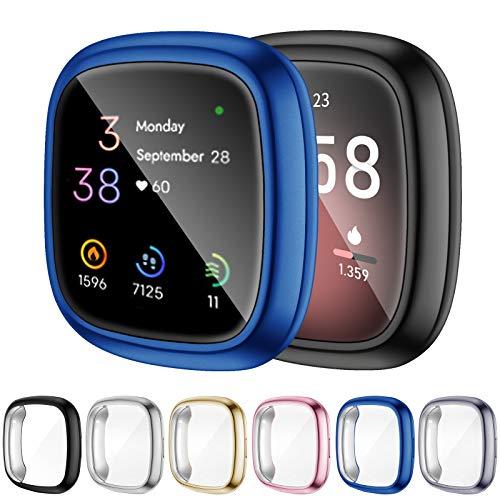 OMEE 6 Stücke Schutzhülle Kompatibel mit Fitbit Sense/Versa 3 Hülle, Vollständige Abdeckung Weiche TPU Cover Hülle Schutzfolie für Fitbit Sense/Versa 3 Smartwatch