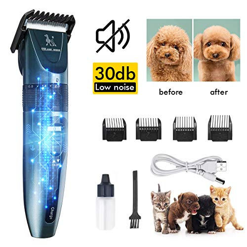 Dog Clippers Dog Shaver Low Noise 30 Decibels Pet Clippers Rechargeable Dog Trimmer Cordless Pet Grooming Tool Pet Hair Clippers Pet Grooming Kit Professional for Dogs & Cats with Thick & Heavy Coats