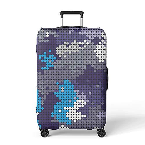 LDIW Couverture Valise Luggage Cover Élastique Polyester Spandex Tissu Housse Protection De Valise pour 19-32 Pouce Valise,Roundmap,M