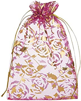 Pack Of 5 Pink Drawstring Bags Jewellery Party Wedding