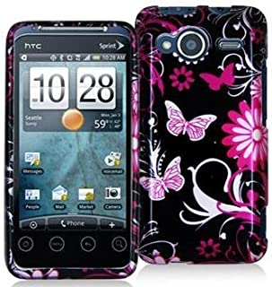 Pink Butterfly Flower Design Crystal Hard Skin Case Cover for HTC Sprint EVO Shift 4g Phone By Electromaster