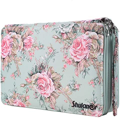 Shulaner 160 Slots Gel Pen or Colored Pencil Case with Zipper Closure Large Capacity Oxford product image