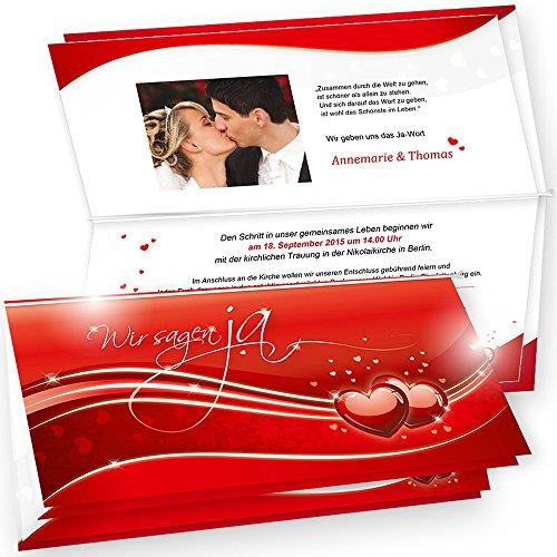 Bedruckbare Einladungskarten Hochzeit Rote Liebe 10 Sets - Laserdrucker und Inkjetdrucker geeigent