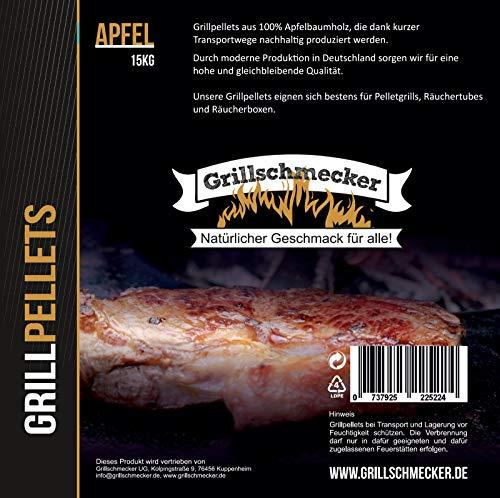 Grillschmecker Grillpellets Apfel - Holzpellets aus 100% Apfelholz für Pelletsgrill, Räucherboxen und Smoker - 15 kg Sack