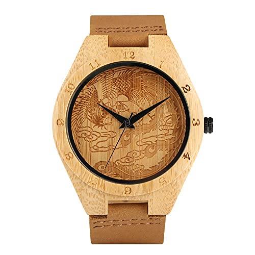 HYLX Reloj de Madera clásico para Mujer, Relojes de Madera con Esfera Grande Tallada de Phoenix para Mujer, Relojes de Madera Hechos a Mano duraderos Naturales, Regalo -