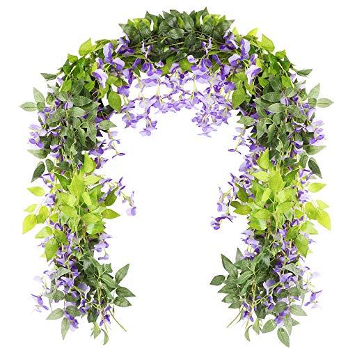 VINFUTUR 2m×5pcs Guirnalda de Flores Artificiales Wisteria, Plantas de Flores Falsas Guirnalda Colgante Vid de Glicina Falsa con Hiedra para Decoración Jardín Boda Balcón Exterior Interior