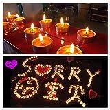 Txyk rauchfreie Kerzen Duftkerze Valentinstag Romantische Kerzen Teelichter Set für Schlafzimmer, Wohnzimmer, Büro 50 Stück rot - 6