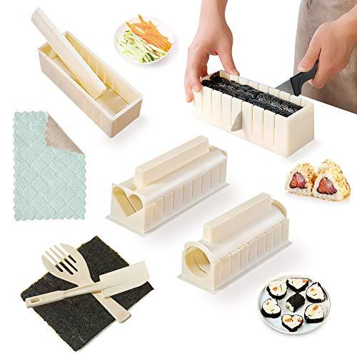 SKYSER 12 Pièces Sushi Maker Kit - Moules à Sushi Plastique Kit de Préparation Complet Riz Rouleau Sushi Set avec Couteau à Sushi Cuisine DIY Kit Sushi- Blanc Cassé