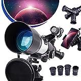 QUNSE Telescopio Astronómico con el ocular Achromat de Kellner K25 mm K17,5 mm y K6 mm, 70/400 Telescopio refracción con trípode de aluminio ajustable y adaptador telefónico, telescopio portátil