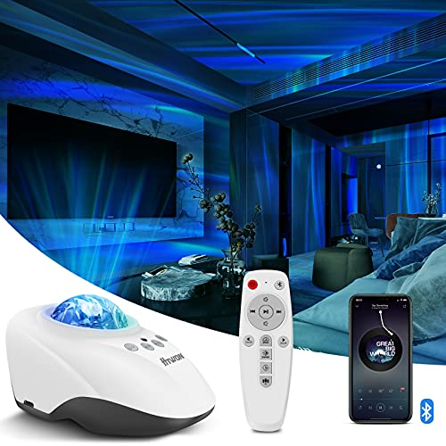 Northern Lights Projector, Htwon 3 in 1 Aurora Night Light and Sound Machine with Bluetooth Speaker, with 8 White Noise for Kids/Adult, Sky Projector for Bedroom/Room/Party Decor/Mood Lighting